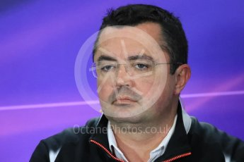 World © Octane Photographic Ltd. F1 British GP FIA Personnel Press Conference, Silverstone, UK. Friday 8th July 2016. Eric Boullier – McLaren Honda Racing Director. Digital Ref : 1624LB1D2631