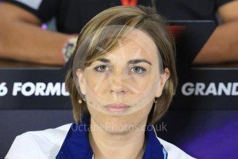 World © Octane Photographic Ltd. F1 British GP FIA Personnel Press Conference, Silverstone, UK. Friday 8th July 2016. Claire Williams - Williams Martini Racing Deputy Team Principal. Digital Ref : 1624LB1D2691