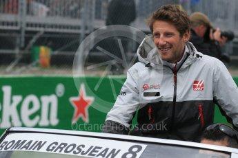 World © Octane Photographic Ltd. Haas F1 Team – Romain Grosjean. Sunday 12th June 2016, F1 Canadian GP Drivers' parade, Circuit Gilles Villeneuve, Montreal, Canada. Digital Ref :1591LB1D3094