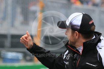 World © Octane Photographic Ltd. McLaren Honda – Jenson Button. Sunday 12th June 2016, F1 Canadian GP Drivers' parade, Circuit Gilles Villeneuve, Montreal, Canada. Digital Ref :1591LB1D3117