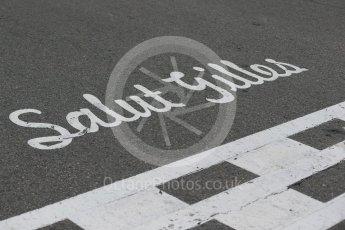 World © Octane Photographic Ltd. Start/Finish line with the famous Salut Gilles script. Sunday 12th June 2016, F1 Canadian GP Drivers' parade, Circuit Gilles Villeneuve, Montreal, Canada. Digital Ref :1591LB1D3219