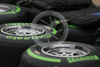 World © Octane Photographic Ltd. Pirelli green intermediate tyres. Thursday 9th June 2016, F1 Canadian GP Pitlane, Circuit Gilles Villeneuve, Montreal, Canada. Digital Ref :1581LB1D9112