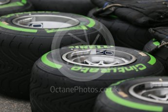 World © Octane Photographic Ltd. Pirelli green intermediate tyres. Thursday 9th June 2016, F1 Canadian GP Pitlane, Circuit Gilles Villeneuve, Montreal, Canada. Digital Ref :1581LB1D9116