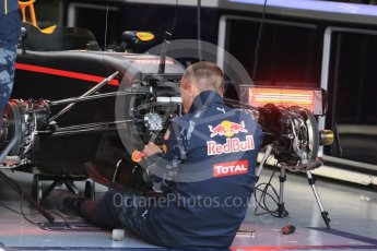 World © Octane Photographic Ltd. Red Bull Racing RB12 being assembled – Max Verstappen. Thursday 9th June 2016, F1 Canadian GP Pitlane, Circuit Gilles Villeneuve, Montreal, Canada. Digital Ref :1581LB1D9125