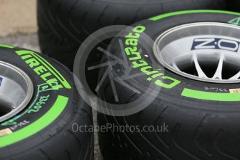 World © Octane Photographic Ltd. Pirelli green intermediate tyres. Thursday 9th June 2016, F1 Canadian GP Pitlane, Circuit Gilles Villeneuve, Montreal, Canada. Digital Ref :1581LB1D9129