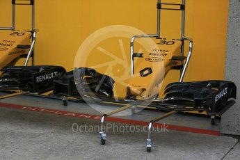 World © Octane Photographic Ltd. Renault Sport F1 Team RS16 nose and front wing. Thursday 9th June 2016, F1 Canadian GP Pitlane, Circuit Gilles Villeneuve, Montreal, Canada. Digital Ref :1581LB1D9153