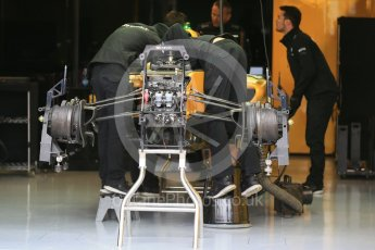 World © Octane Photographic Ltd. Renault Sport F1 Team RS16 front suspension and front brakes. Thursday 9th June 2016, F1 Canadian GP Pitlane, Circuit Gilles Villeneuve, Montreal, Canada. Digital Ref :1581LB1D9167