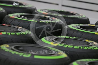World © Octane Photographic Ltd. Pirelli green intermediate tyres. Thursday 9th June 2016, F1 Canadian GP Pitlane, Circuit Gilles Villeneuve, Montreal, Canada. Digital Ref :1581LB1D9209