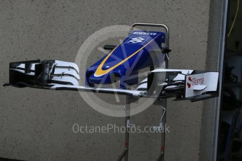 World © Octane Photographic Ltd. Sauber F1 Team C35 nose and front wing. Thursday 9th June 2016, F1 Canadian GP Pitlane, Circuit Gilles Villeneuve, Montreal, Canada. Digital Ref :1581LB1D9249