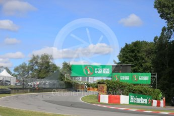 World © Octane Photographic Ltd. Heineken trackside boards. Friday 10th June 2016, F1 Canadian GP Practice 1, Circuit Gilles Villeneuve, Montreal, Canada. Digital Ref :1586LB5D8973