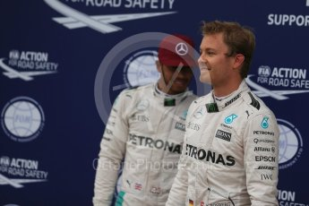 World © Octane Photographic Ltd. Mercedes AMG Petronas W07 Hybrid – Lewis Hamilton and Nico Rosberg. Saturday 11th June 2016, F1 Canadian GP Qualifying Parc Ferme, Circuit Gilles Villeneuve, Montreal, Canada. Digital Ref :1589LB1D2091