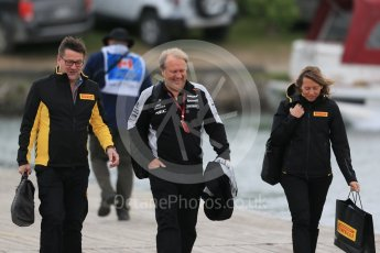 World © Octane Photographic Ltd. Pirelli - Paul Hembery and Robert Fernley – Sahara Force India Deputy Team Principal. Sunday 12th June 2016, F1 Canadian GP Paddock, Circuit Gilles Villeneuve, Montreal, Canada. Digital Ref :1590LB1D2457