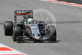 World © Octane Photographic Ltd. Sahara Force India VJM09 - Alfonso Celis. Wednesday 18th May 2016, F1 Spanish GP In-season testing, Circuit de Barcelona Catalunya, Spain. Digital Ref : 1556CB1D4256