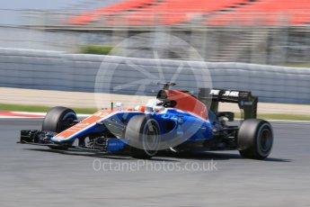 World © Octane Photographic Ltd. Manor Racing MRT05 – Jordan King. Wednesday 18th May 2016. F1 Spanish GP In-season testing, Circuit de Barcelona Catalunya, Spain. Digital Ref : 1556CB7D9247