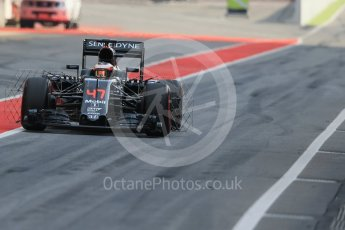 World © Octane Photographic Ltd. McLaren Honda MP4-31 – Stoffel Vandoorne. Wednesday 18th May 2016, F1 Spanish GP In-season testing, Circuit de Barcelona Catalunya, Spain. Digital Ref : 1556LB1D0307