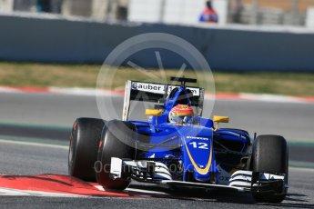 World © Octane Photographic Ltd. Sauber F1 Team C35 – Felipe Nasr. Tuesday 1st March 2016, F1 Winter testing, Circuit de Barcelona Catalunya, Spain, Day 5. Digital Ref : 1508LB1D4500