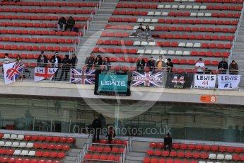 World © Octane Photographic Ltd. Mercedes AMG Petronas, Lewis Hamilton fans. Tuesday 1st March 2016, F1 Winter testing, Circuit de Barcelona Catalunya, Spain, Day 5. Digital Ref : 1508LB1D4783