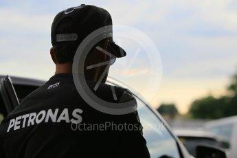 World © Octane Photographic Ltd. Mercedes AMG Petronas W07 Hybrid – Lewis Hamilton. Friday 22nd July 2016, F1 Hungarian GP Paddock, Hungaroring, Hungary. Digital Ref :1638CB1D5964