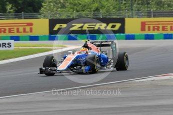 World © Octane Photographic Ltd. Manor Racing MRT05 – Rio Haryanto. Friday 22nd July 2016, F1 Hungarian GP Practice 2, Hungaroring, Hungary. Digital Ref : 1641CB1D6649