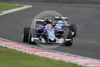 World © Octane Photographic Ltd. Sauber F1 Team C35 – Felipe Nasr and Marcus Ericsson. Friday 22nd July 2016, F1 Hungarian GP Practice 2, Hungaroring, Hungary. Digital Ref : 1641LB1D1604
