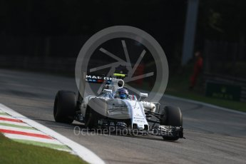 World © Octane Photographic Ltd. Williams Martini Racing, Williams Mercedes FW38 – Valtteri Bottas. Friday 2nd September 2016, F1 Italian GP Practice 1, Monza, Italy. Digital Ref :1697LB1D4995