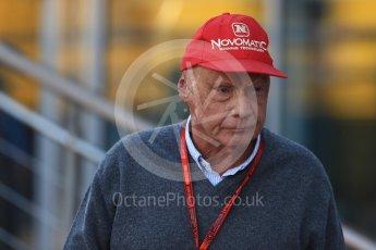 World © Octane Photographic Ltd. Mercedes AMG Petronas non-executive chairman – Niki Lauda. Saturday 3rd September 2016, F1 Italian GP Paddock, Monza, Italy. Digital Ref :1696LB1D6983