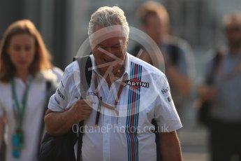 World © Octane Photographic Ltd. Williams Martini Racing Chief Technical Officer – Pat Symonds. Saturday 3rd September 2016, F1 Italian GP Paddock, Monza, Italy. Digital Ref :1696LB1D7022