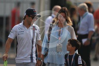 World © Octane Photographic Ltd. Williams Martini Racing, Williams Mercedes FW38 – Felipe Massa, wife - Anna Raffaela Bassi with son Felipinho Bassi Massa. Saturday 3rd September 2016, F1 Italian GP Paddock, Monza, Italy. Digital Ref :1696LB1D7313