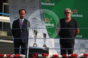 World © Octane Photographic Ltd. Flavio Briatore. Saturday 3rd September 2016, GP2 Race 1 Podium, Monza, Italy. Digital Ref :1700LB1D8928