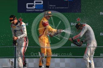 World © Octane Photographic Ltd. Prema Racing – Antonia Giovinazzi (1st), Russian Time – Raffaele Marciello (2nd) and Rapax – Gustav Malja (3rd). Saturday 3rd September 2016, GP2 Race 1 Podium, Monza, Italy. Digital Ref :1700LB1D9084