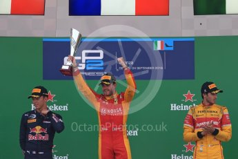 World © Octane Photographic Ltd. Racing Engineering – Norman Nato (1st) and Prema Racing – Pierre Gasly (2nd) and Antonia Giovinazzi (3rd). Sunday 4th September 2016, GP2 Race 1 Podium, Monza, Italy. Digital Ref :1707LB1D0019
