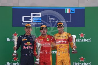 World © Octane Photographic Ltd. Racing Engineering – Norman Nato (1st) and Prema Racing – Pierre Gasly (2nd) and Antonia Giovinazzi (3rd). Sunday 4th September 2016, GP2 Race 1 Podium, Monza, Italy. Digital Ref :1707LB1D0047