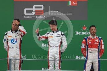 World © Octane Photographic Ltd. ART Grand Prix – Nyck de Vries (1st) and Alexander Albon (2nd) and Trident – Antonia Fuoco (3rd). Sunday 4th September 2016, GP3 Race 2 Podium, Spa-Francorchamps, Belgium. Digital Ref :1703LB1D9721