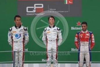 World © Octane Photographic Ltd. ART Grand Prix – Nyck de Vries (1st) and Alexander Albon (2nd) and Trident – Antonia Fuoco (3rd). Sunday 4th September 2016, GP3 Race 2 Podium, Spa-Francorchamps, Belgium. Digital Ref :1703LB1D9733