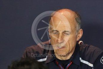 World © Octane Photographic Ltd. F1 Italian GP FIA Personnel Press Conference, Monza, Italy. Friday 2nd September 2016. Franz Tost – Team Principal Scuderia Toro Rosso. Digital Ref : 1701LB1D6691