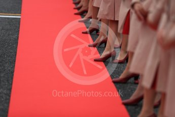 World © Octane Photographic Ltd. Emirates grid girls line the red carpet for the drivers' parade. Sunday 9th October 2016, F1 Japanese GP. Suzuka Circuit, Suzuka, Japan. Digital Ref :1735LB1D6969