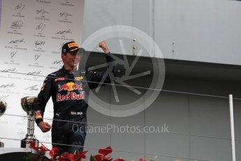 World © Octane Photographic Ltd. Red Bull Racing – Max Verstappen (2nd). Sunday 9th October 2016, F1 Japanese GP - Podium. Suzuka Circuit, Suzuka, Japan. Digital Ref :1737LB1D8395
