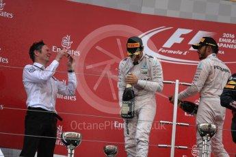 World © Octane Photographic Ltd. Mercedes AMG Petronas – Nico Rosberg (1st) and Lewis Hamilton (3rd). Sunday 9th October 2016, F1 Japanese GP - Podium. Suzuka Circuit, Suzuka, Japan. Digital Ref :1737LB1D8629