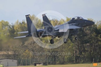 """World © Octane Photographic Ltd. 3rd May 2016 RAF Lakenheath, USAF (United States Air Force) 48th Fighter Wing """"Statue of Liberty Wing"""" commanding officer's personal aircraft, McDonnell Douglas F-15E Strike Eagle. Digital Ref : 1531CB1L0786"""
