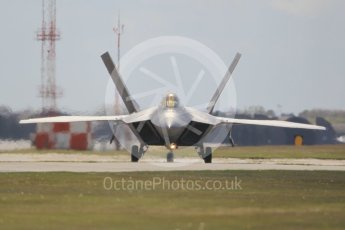 "World © Octane Photographic Ltd. 3rd May 2016 RAF Lakenheath, USAF (United States Air Force) 325th Operations Group, 95th Fighter Squadron ""Boneheads"", Lockheed-Martin F-22 Raptor. Digital Ref :1531CB1L1535"