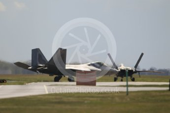 "World © Octane Photographic Ltd. 3rd May 2016 RAF Lakenheath, USAF (United States Air Force) 325th Operations Group, 95th Fighter Squadron ""Boneheads"", Lockheed-Martin F-22 Raptor. Digital Ref :1531CB1L1594"