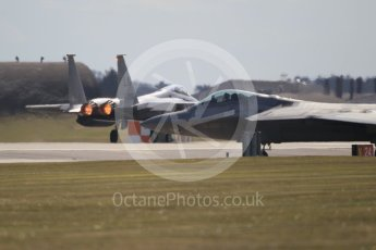 "World © Octane Photographic Ltd. 3rd May 2016 RAF Lakenheath, USAF (United States Air Force) 325th Operations Group, 95th Fighter Squadron ""Boneheads"", Lockheed-Martin F-22 Raptor and F-15E Eagle. Digital Ref :1531CB1L1637"