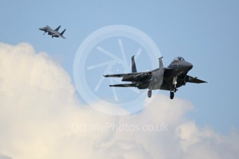 """World © Octane Photographic Ltd. 3rd May 2016 RAF Lakenheath, USAF (United States Air Force) 48th Fighter Wing """"Statue of Liberty Wing"""" commanding officer's personal aircraft, McDonnell Douglas F-15E Strike Eagle and wingman. Digital Ref :1531CB1L1720"""