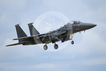 """World © Octane Photographic Ltd. 3rd May 2016 RAF Lakenheath, USAF (United States Air Force) 48th Fighter Wing """"Statue of Liberty Wing"""" commanding officer's personal aircraft, McDonnell Douglas F-15E Strike Eagle. Digital Ref :1531CB1L1737"""