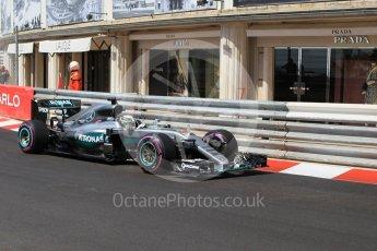 World © Octane Photographic Ltd. Mercedes AMG Petronas W07 Hybrid – Lewis Hamilton. Saturday 28th May 2016, F1 Monaco GP Practice 3, Monaco, Monte Carlo. Digital Ref : 1568CB1D8152