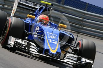 World © Octane Photographic Ltd. Sauber F1 Team C35 – Felipe Nasr. Saturday 28th May 2016, F1 Monaco GP Practice 3, Monaco, Monte Carlo. Digital Ref : 1568CB7D1888