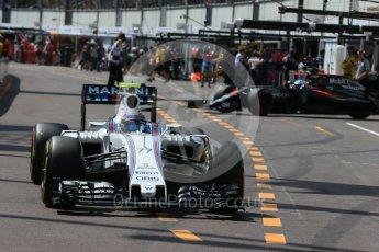World © Octane Photographic Ltd. Williams Martini Racing, Williams Mercedes FW38 – Valtteri Bottas. Saturday 28th May 2016, F1 Monaco GP Practice 3, Monaco, Monte Carlo. Digital Ref : 1568LB1D9480