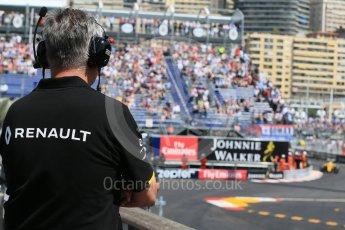 World © Octane Photographic Ltd. Renault Sport F1 Team watching the action. Saturday 28th May 2016, F1 Monaco GP Practice 3, Monaco, Monte Carlo. Digital Ref : 1568LB1D9999