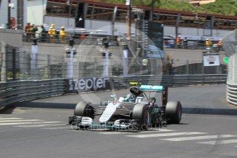 World © Octane Photographic Ltd. Mercedes AMG Petronas W07 Hybrid – Nico Rosberg. Saturday 28th May 2016, F1 Monaco GP Qualifying, Monaco, Monte Carlo. Digital Ref :