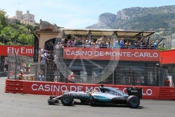 World © Octane Photographic Ltd. Mercedes AMG Petronas W07 Hybrid – Lewis Hamilton. Saturday 28th May 2016, F1 Monaco GP Qualifying, Monaco, Monte Carlo. Digital Ref : 1569CB7D2284
